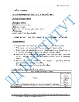 1) OPŠTI PODACI 1.1 Naziv radnog mesta: RUKOVAOC
