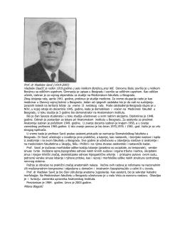 Prof. dr Vladislav Savić (1919-2003) Vladislav Daačić je rođen