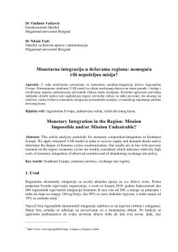 Monetarna integracija u državama regiona: nemoguća i/ili