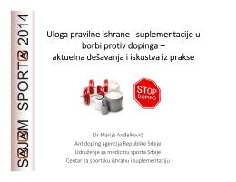 Uloga pravilne ishrane i suplementacije u borbi protiv dopinga