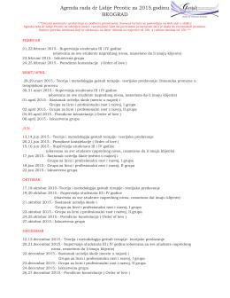 Agenda dr Lidije Pecotic za 2015.godinu BEOGRAD FINAL