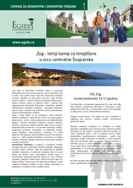 Zug - letnji kamp za tinejdžere u srcu centralne Švajcarske