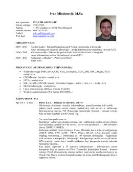 Curriculum Vitae - Ivan Mladenović
