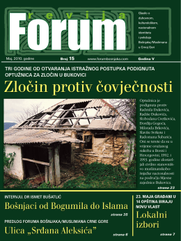 Maj, 2010. go di ne Broj 15 www.forumbosnjaka.com Go di na V