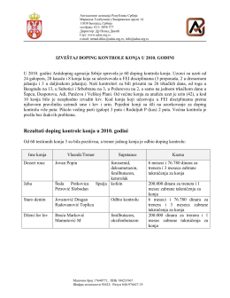 Izveštaj o radu – doping kontrola konja 2010