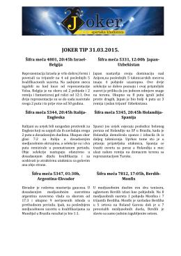 JOKER TIP 28.03.2015.