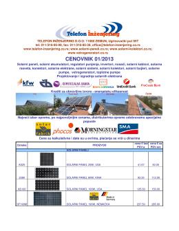 CENOVNIK 01/2013 - vetrogeneratori