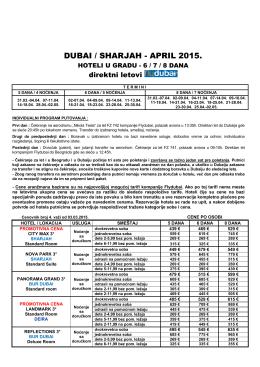 Cenovnik DUBAI 2015 April-Gradski Hoteli