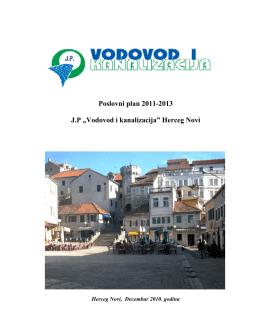"""Poslovni plan 2011-2013 J.P """"Vodovod i kanalizacija"""" Herceg Novi"""