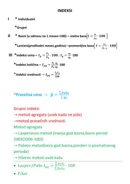 INDEKSI *Prosečna cena ̅ Grupni indeksi metod
