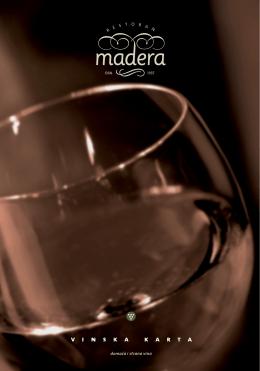 Vinska karta - cene - Restoran Madera Beograd