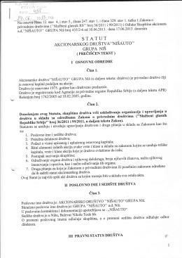 Statut Nišauto a.d. 24.06.2013