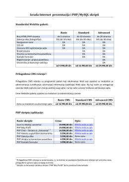 Izrada Internet prezentacija i PHP/MySQL skripti