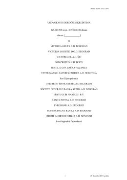 Nacrt Ugovora o dugoročnim kreditima sa Zajmodavcima