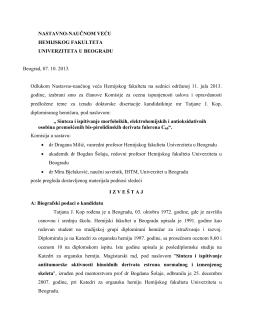 Izveštaj komisije - Hemijski fakultet