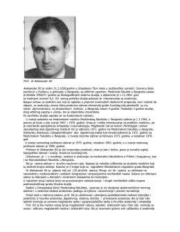 Prof. dr Aleksandar Ilić Aleksandar Ilić je rođen 31,3,1938,godine