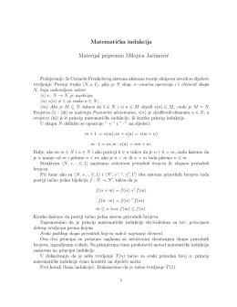 Matematicka indukcija Materijal pripremio Milojica Jacimovic
