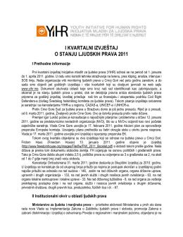 Prvi kvartalni izvještaj o stanju ljudskih prava u