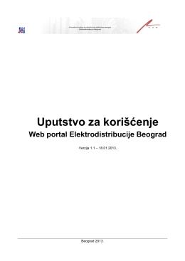Uputstvo za korišćenje - Web Portal Elektrodistribucije Beograd