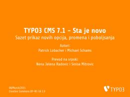 TYPO3 CMS 7.1 - Sta je novo - Sazet prikaz novih
