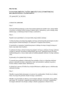 Pravilnik o uslovima držanja, načinu obeležavanja i
