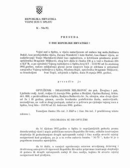Presuda kojom se Dragomir Miljković oslobađa Bajićeve