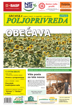 Sremska poljoprivreda broj 21 16. avgust 2013.