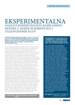 eksperimentalna analiza komercijalnog rashladnog sistema u