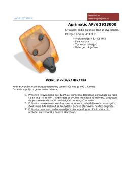 Uputstvo za Aprimatic TR2