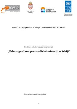 """""""Odnos građana prema diskriminaciji u Srbiji"""""""