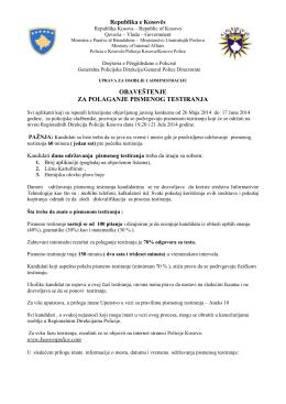 obaveštenje za polaganje pismenog testiranja