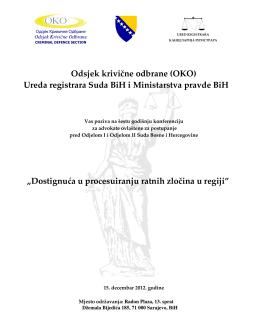 Odsjek krivične odbrane (OKO) Ureda registrara Suda BiH i