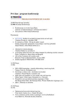 Prvi dan - program konferencije