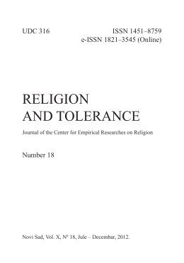 RELIGION AND TOLERANCE