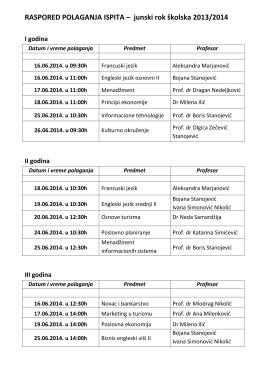 RASPORED POLAGANJA ISPITA – junski rok školska 2013/2014