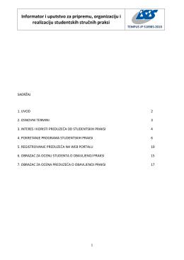 Informator i uputstvo za pripremu, organizaciju i realizaciju