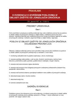 pravilnik o evidenciji o izvršenim poslovima iz oblasti zaštite od