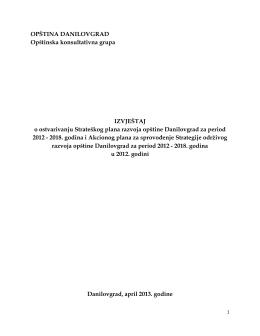 OPŠTINA DANILOVGRAD Opštinska konsultativna grupa
