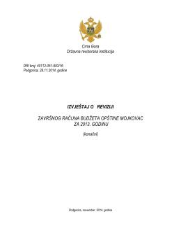 Izvještaj o reviziji Završnog računa budžeta Opštine Mojkovac za
