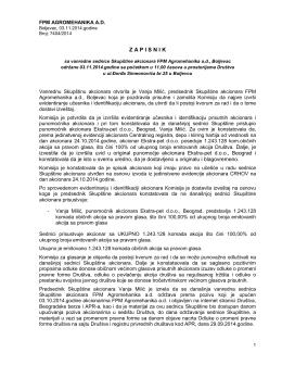 Zapisnik sa vanredne sednice Skupštine akcionara održane 03.11