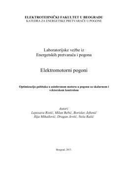 Elektromotorni pogoni - Elektrotehnički fakultet