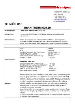 TEHNIČKI LIST HRANITHERM 600.20