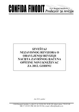 ИЗВЕШТАЈ РЕВИЗОРА ЗА 2012.ГОД