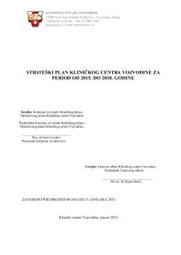 strateški plan kliničkog centra vojvodine za period od 2015. do 2018