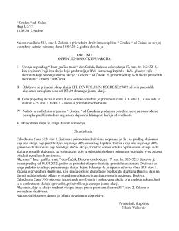 """"""" Gradex """" ad Čačak Broj 1-2/12. 18.05.2012.godine Na osnovu"""