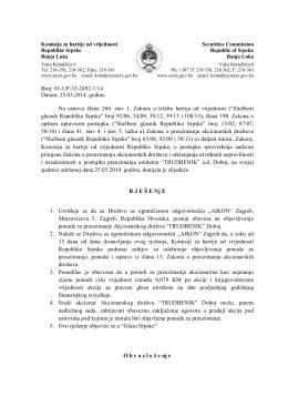 25.03.2014. godine Na osnovu člana 260. stav 1. Zakona o tržištu