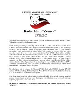 "9. JESENJI ARG UKT KUP ""ZENICA 2013"" 29. septembra"