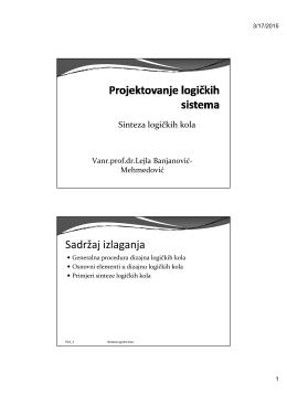 Sadržaj izlaganja - Vanr.prof.dr. Lejla Banjanović