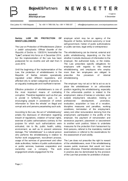 Page 1 Page | 1 11/2014 4 December Serbia: LAW ON