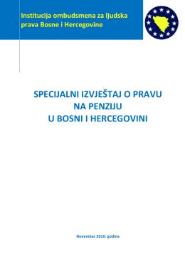 specijalni izvještaj o pravu na penziju u bosni i hercegovini